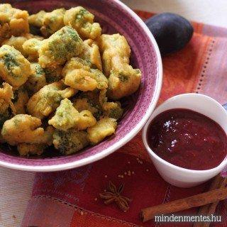 Brokkoli pakora szilva csatnival – avagy hogyan bundázzunk egyszerűen, tojás- és gluténmentesen