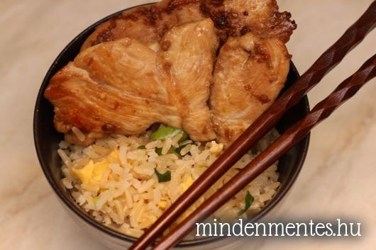 Csirke japánul, tojásos barna rizzsel
