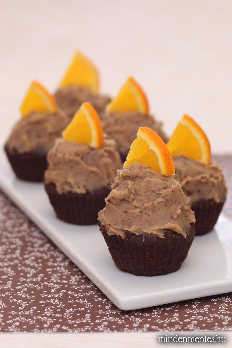 Csokis muffinok gesztenyés-narancsos mázzal, mindenmentesen