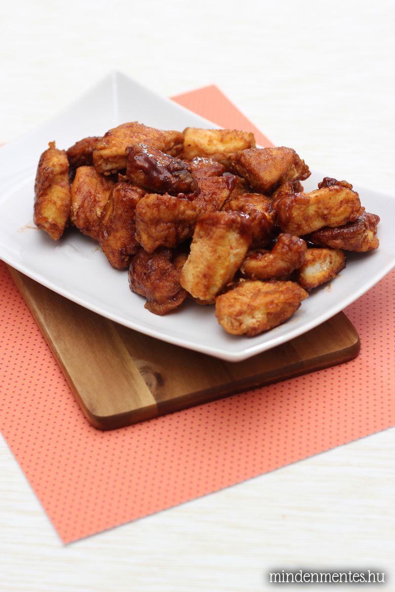 Édes-savanyú, bundázott csirkefalatok