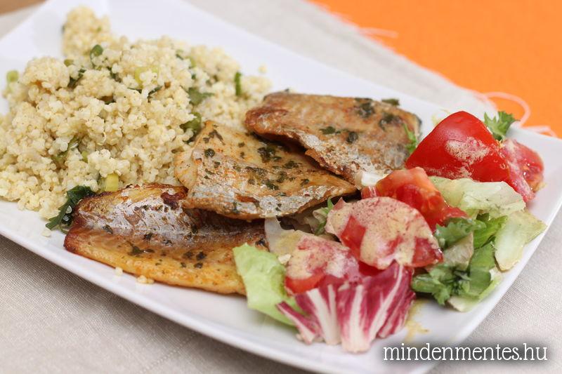 Gyorsan pácolt tengeri hal zöldfűszeres kölessel