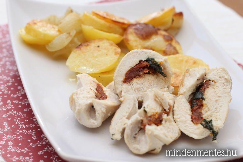 Paradicsomos-bazsalikomos csirkemelltekercsek
