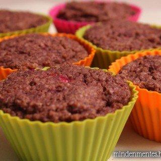 Piros bogyós muffin szteviával, mindenmentesen