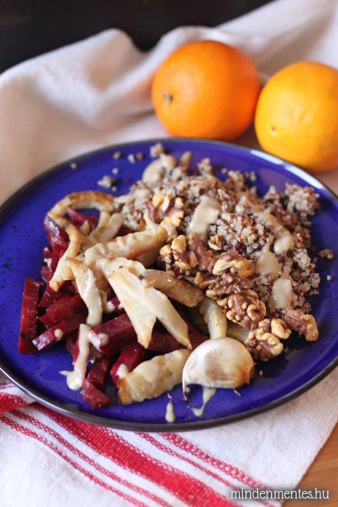Sült zeller, cékla & quinoa tál narancsos tahini öntettel ...
